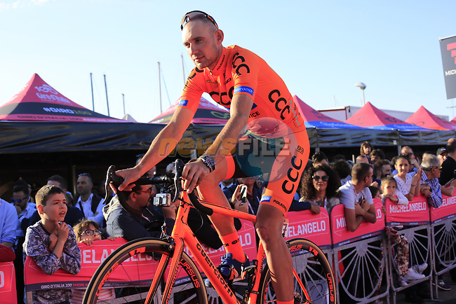CCC Sprandi Polkowice at the Team Presentation in Alghero, Sardinia for the 100th edition of the Giro d'Italia 2017, Sardinia, Italy. 4th May 2017.<br /> Picture: Eoin Clarke | Cyclefile<br /> <br /> <br /> All photos usage must carry mandatory copyright credit (&copy; Cyclefile | Eoin Clarke)