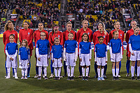 COLUMBUS, OH - NOVEMBER 07: The USWNT starting XI lines up during a game between Sweden and USWNT at Mapfre Stadium on November 07, 2019 in Columbus, Ohio.