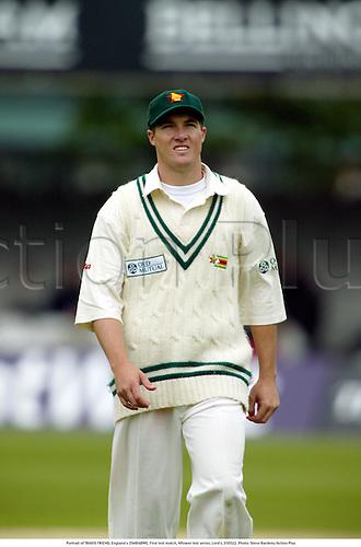Portrait of TRAVIS FRIEND, England v ZIMBABWE, First test match, NPower test series, Lord's, 030522. Photo: Steve Bardens/Action Plus...2003.Cricket cricketer cricketers.bowler bowlers.celebrate celebrating celebration celebrations joy