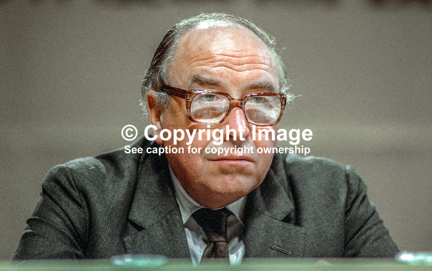 Roy Jenkins, leader, SDP, Social Democratic Party, UK, on platform during annual conference, Cardiff, Wales, UK, October, 1982, 198210000211RJ3<br /><br />Copyright Image from Victor Patterson, 54 Dorchester Park, <br />Belfast, UK, BT9 6RJ<br /><br />t1: +44 28 9066 1296 (from Rep of Ireland 048 9066 1296)<br />t2: +44 28 9002 2446 (from Rep of Ireland 048 9002 2446)<br />m: +44 7802 353836<br /><br />victorpatterson@me.com<br />www.victorpatterson.com<br /><br />Please see my Terms and Conditions of Use at VICTORPATTERSON.COM. It is IMPORTANT that you familiarise yourself with them.<br /><br />Images used on the Internet must be visibly watermarked i.e. &copy;VICTORPATTERSON.COM within the body of the image and copyright metadata must not be deleted. Images used on the Internet have a size restriction of 4kbs and are chargeable at the then current NUJ rates.<br /><br />This image is only available for the use of the download recipient i.e. television station, newspaper, magazine, book publisher, etc, and must not be passed on to any third party. It is also downloaded on condition that each and every usage is notified within 7 days to victorpatterson@me.com<br /><br />The right of Victor Patterson to be identified as the author is asserted in accordance with The Copyright Designs And Patents Act (1988).