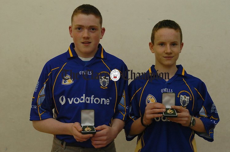 Alan Leamy, Tulla,  and Niall Malone, Tuamgraney, winners of the U-15 doubles All-Ireland handball final.