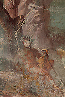 Detail of Polyphemus, from the fresco panel of Polyphemus with the nymph Galatea, in the triclinium of the Casa del Sacerdos Amandus, or House of the Priest Amandus, Pompeii, Italy. The fresco is in the Third Style of Roman wall painting, 20–10 BC, characterised by an ornamental elegance in figurative and colourful decoration. Pompeii is a Roman town which was destroyed and buried under 4-6 m of volcanic ash in the eruption of Mount Vesuvius in 79 AD. Buildings and artefacts were preserved in the ash and have been excavated and restored. Pompeii is listed as a UNESCO World Heritage Site. Picture by Manuel Cohen