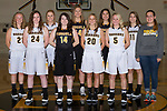 November 5, 2017- Tuscola, IL- The 2017-2018 Tuscola Girls Varsity Basketball team. Back row from left are Ashton Smith, Lexie Russo, Cassie Russo, Daria Calanchini, and Grace Dietrich.  Front row from left are Grace Voyles, Alexis Koester, Brynn Tabeling, Natalie Bates, and manager Anna Spillman.  [Photo: Douglas Cottle]