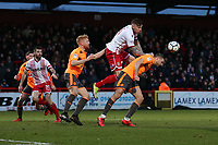 Jack King of Stevenage and Joey van den Berg of Reading during Stevenage vs Reading, Emirates FA Cup Football at the Lamex Stadium on 6th January 2018
