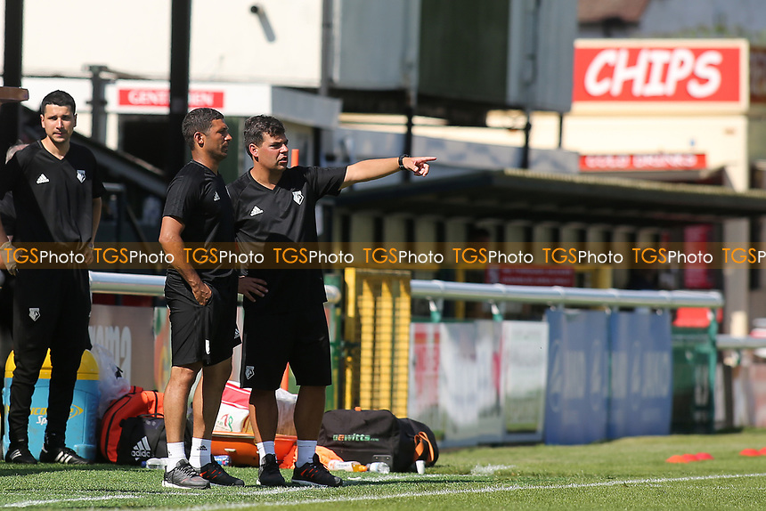 Watford Academy Coach, David Horseman, points towards his players as Academy Coach, Hayden Mullins looks on during Woking vs Watford, Friendly Match Football at The Laithwaite Community Stadium on 8th July 2017