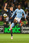 3rd November 2017, Melbourne Rectangular Stadium, Melbourne, Australia; A-League football, Melbourne City FC versus Sydney FC; Brandon O'Neill of Sydney FC and Bruce Kamau of Melbourne City FC compete for the ball