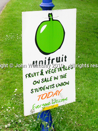 Sign encouraging students to eat more fresh fruit and vegetables on sale in the Students' Union, University of Surrey, Guildford.