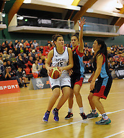 Action from the 2014 National Secondary Schools Basketball Championship AA girls' semifinal between New Plymouth Girls' High School and St Peter's College Cambridge at Arena Manawatu, Palmerston North, New Zealand on Friday, 3 October 2014. Photo: Dave Lintott / lintottphoto.co.nz