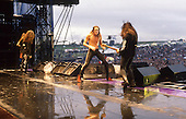 SKID ROW - vocalist Sebastian Bach and guitarist Snake Sabo - performing live at the Monsters of Rock festival at Castle Donington Leicestershire UK - 22 Aug 1992.  Photo credit: George Chin/IconicPix