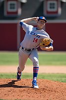 Stockton Ports relief pitcher Boomer Biegalski (14) delivers a pitch to the plate during a California League game against the Visalia Rawhide at Visalia Recreation Ballpark on May 9, 2018 in Visalia, California. Stockton defeated Visalia 4-2. (Zachary Lucy/Four Seam Images)