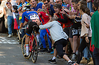 Picture by Richard Blaxall/SWpix.com - 30/09/2018 - Cycling 2018 Road Cycling World Championships Innsbruck-Tirol, Austria - Men's Elite Road Race - Gianluca Brambilla of Italy is helped by a spectator on the Ride to Höll (Hell)