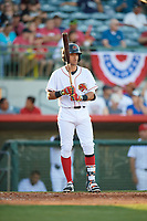Florida Fire Frogs shortstop Alejandro Salazar (7) at bat during a game against the Daytona Tortugas on April 6, 2017 at Osceola County Stadium in Kissimmee, Florida.  Daytona defeated Florida 3-1.  (Mike Janes/Four Seam Images)