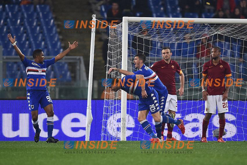 Esultanza Gol Lorenzo De Silvestri Sampdoria. Goal celebration 0-1<br /> Roma 16-03-2015 Stadio Olimpico Football Calcio Serie A 2014/2015 AS Roma - Sampdoria . Foto Andrea Staccioli / Insidefoto