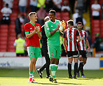 Jake Eastwood of Sheffield Utd and Jamal Blackman of Sheffield Utd during the Championship match at Bramall Lane, Sheffield. Picture date 26th August 2017. Picture credit should read: Simon Bellis/Sportimage