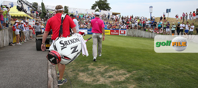 Jaco Van Zyl (RSA) heads to the first tee to start the Final Round of the 2015 Alstom Open de France, played at Le Golf National, Saint-Quentin-En-Yvelines, Paris, France. /05/07/2015/. Picture: Golffile | David Lloyd<br /> <br /> All photos usage must carry mandatory copyright credit (&copy; Golffile | David Lloyd)