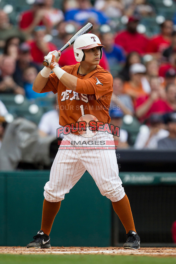 Texas Longhorns designated hitter Tres Barrera #1 at bat during the NCAA baseball game against the Houston Cougars on March 1, 2014 during the Houston College Classic at Minute Maid Park in Houston, Texas. The Longhorns defeated the Cougars 3-2. (Andrew Woolley/Four Seam Images)