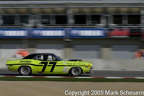 Ken Epsman races his 1970 Dodge Challenger at the 32nd Rolex Monterey Historic Automobile Races, 2005