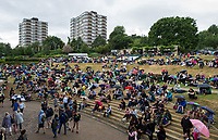 Fans on Murray Mound on a rain delayed Day 8<br /> <br /> Photographer Ashley Western/CameraSport<br /> <br /> Wimbledon Lawn Tennis Championships - Day 8 - Tuesday 11th July 2017 -  All England Lawn Tennis and Croquet Club - Wimbledon - London - England<br /> <br /> World Copyright &copy; 2017 CameraSport. All rights reserved. 43 Linden Ave. Countesthorpe. Leicester. England. LE8 5PG - Tel: +44 (0) 116 277 4147 - admin@camerasport.com - www.camerasport.com