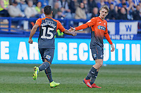 (L-R) Wayne Routledge of Swansea City celebrates his goal with George Byers during the Sky Bet Championship match between Sheffield Wednesday and Swansea City at Hillsborough Stadium, Sheffield, England, UK. Saturday 23 February 2019
