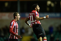 Lincoln City's Bruno Andrade, right, celebrates scoring his side's third goal with team-mate Harry Toffolo<br /> <br /> Photographer Chris Vaughan/CameraSport<br /> <br /> Emirates FA Cup First Round - Lincoln City v Northampton Town - Saturday 10th November 2018 - Sincil Bank - Lincoln<br />  <br /> World Copyright &copy; 2018 CameraSport. All rights reserved. 43 Linden Ave. Countesthorpe. Leicester. England. LE8 5PG - Tel: +44 (0) 116 277 4147 - admin@camerasport.com - www.camerasport.com