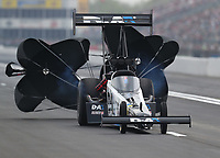 Apr 13, 2019; Baytown, TX, USA; NHRA top fuel driver Jordan Vandergriff during qualifying for the Springnationals at Houston Raceway Park. Mandatory Credit: Mark J. Rebilas-USA TODAY Sports