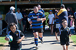 Robert Katu leads the Onewhero team out for the first game of the season and their first in the Premier division for a number of years. Counties Manukau Club Rugby game between Pukekohe and Onewhero played at Colin Lawrie Fields Pukekohe on Saturday 19th March 2011..Pukekohe won 37 - 8.