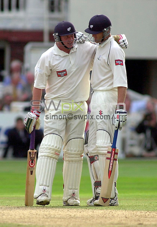 Pix: Ben Duffy/SWpix.com...County Cricket C&G Trophy-Lords, London.....Somerset v Yorkshire....31/08/2002...COPYWRIGHT PICTURE©>>SIMON WILKINSON>>01943 436649>>.. Yorkshire's winning batsmen Matthew Elliot (right) and Anthony Elliot share a quick hug as they secure a win over Somerset