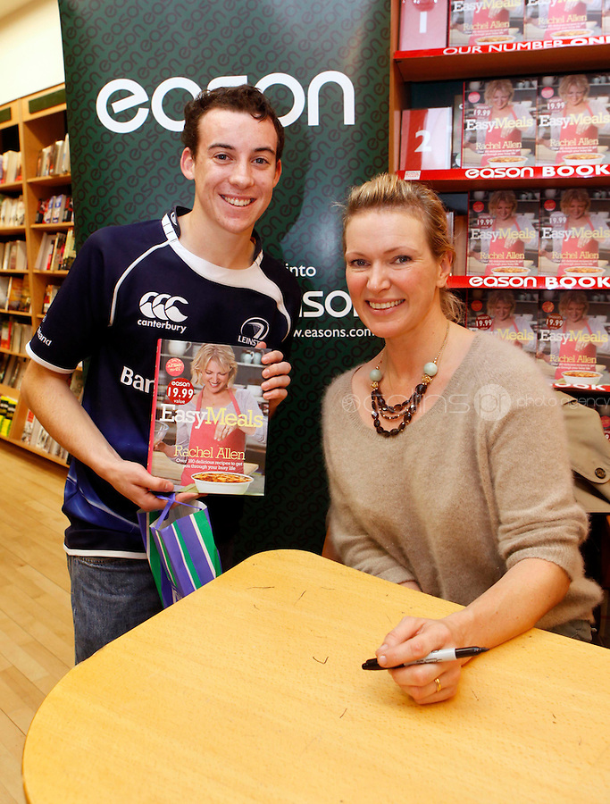 "*** NO FEE PIC ***.01/10/2011.Eason Ireland's leading retailer of books stationery, magazines & lots more hosted a book sigining by best selling cookery writer & TV cook Rachel Allen who signed copies of her new book "" Easy Meals"" for fan Aaron Molloy from Walkinstown.at Eason O' Connell St, Dublin..Photo: Gareth Chaney Collins"