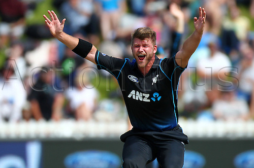 25.01.2016. Basin Reserve, Wellington, New Zealand. New Zealand versus Pakistan One Day International Cricket. Corey Anderson appeals, unsuccessfully during the 1st ODI cricket match between the New Zealand Black Caps and Pakistan