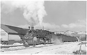 #482 making Chama station stop with San Juan.<br /> D&amp;RGW  Chama, NM  Taken by Richardson, Robert W. - 2/25/1948