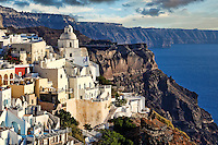 Fira is the capital of Santorini island, Greece