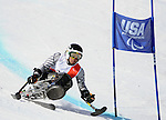 March 28, 2012:  Mono skier, Arly Velasquez, during his first run in Super G competition at the U.S. Adaptive Alpine National Championships at the Racer's Edge course in Aspen, Colorado.