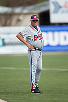 Rome Brave manager Randy Ingle (12) coaches third base during the game against the Kannapolis Intimidators at Kannapolis Intimidators Stadium on April 12, 2017 in Kannapolis, North Carolina.  The Braves defeated the Intimidators 4-3.  (Brian Westerholt/Four Seam Images)