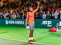 Rotterdam, The Netherlands, 17 Februari 2019, ABNAMRO World Tennis Tournament, Ahoy,  award ceremony, Geal Monfils (FRA) greets the crowd<br /> Photo: www.tennisimages.com/Henk Koster
