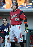 Sacramento River Cats' Hunter Pence waits for the start of a game at Greater Nevada Field in Reno, Nev., on Tuesday, July 26, 2016.  <br />Photo by Cathleen Allison