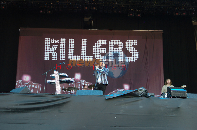 The Killers on stage at the 2005 Oxegen Music Festival in Punchestown Racecourse, Naas, Co Kildare...Photo NEWSFILE/Colin Bell.(Photo credit should read Colin Bell/NEWSFILE)....This Picture has been sent you under the condtions enclosed by:.Newsfile Ltd..The Studio,.Millmount Abbey,.Drogheda,.Co Meath..Ireland..Tel: +353(0)41-9871240.Fax: +353(0)41-9871260.GSM: +353(0)86-2500958.email: pictures@newsfile.ie.www.newsfile.ie.FTP: 193.120.102.198.