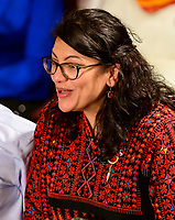 United States Representative Rashida Tlaib (Democrat of Michigan) announces her vote for US Representative Nancy Pelosi (Democrat of California) to be Speaker of the US House of Representatives as the 116th Congress convenes for its opening session in the US House Chamber of the US Capitol in Washington, DC on Thursday, January 3, 2019. Photo Credit: Ron Sachs/CNP/AdMedia