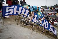 belgian bartape for Thijs Aerts (BEL/Telenet Fidea)<br /> <br /> U23 men's race<br /> <br /> UCI 2016 cyclocross World Championships / Zolder, Belgium