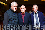 Causeway Comhaltas members enjoying a meal in the Ballyroe Heights Hotel on Saturday night.<br /> L to r: Fr Brendan Walsh, Johnny Carroll and Nicholas O&rsquo;Mahoney.