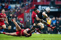 Dave Attwood of Bath Rugby takes on the Toulouse defence. Heineken Champions Cup match, between Stade Toulousain and Bath Rugby on January 20, 2019 at the Stade Ernest Wallon in Toulouse, France. Photo by: Patrick Khachfe / Onside Images