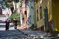 Europe/Turquie/Istanbul :  Détail d une maison ancienne en bois prés de l'église Saint-Sauveur  (Kaariye)
