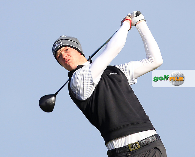 Evan Farrell (Ardee) on the 2nd tee during Round 2 of the East of Ireland Amateur Open Championship at Co. Louth Golf Club, Baltray on Sunday 30th May 2015.<br /> Picture:  Thos Caffrey / www.golffile.ie