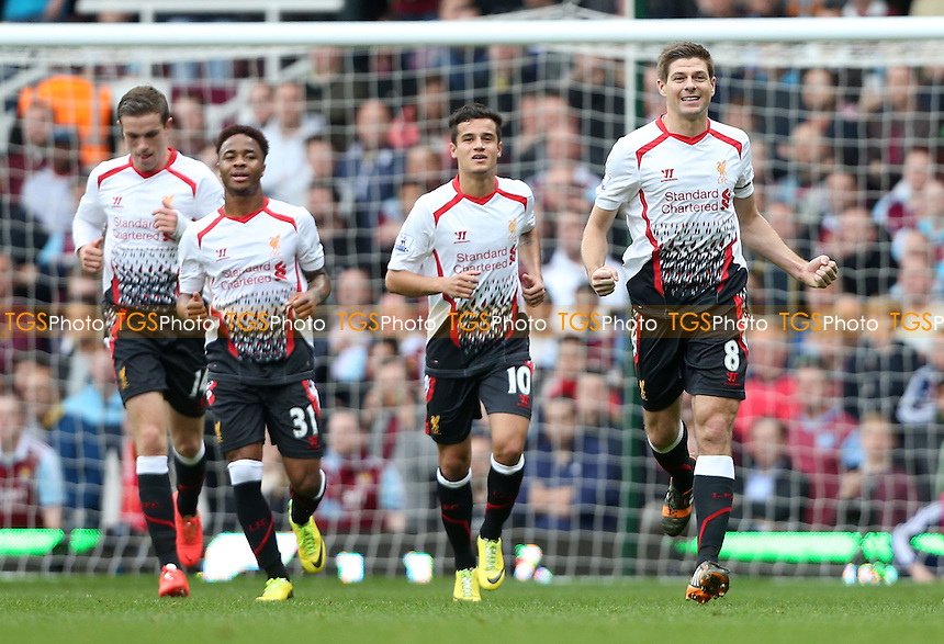 Steven Gerrard celebrates after scoring the 1st goal for Liverpool - West Ham United vs Liverpool, Barclays Premier League at Upton Park, West Ham, London - 06/04/14 - MANDATORY CREDIT: Rob Newell/TGSPHOTO - Self billing applies where appropriate - 0845 094 6026 - contact@tgsphoto.co.uk - NO UNPAID USE