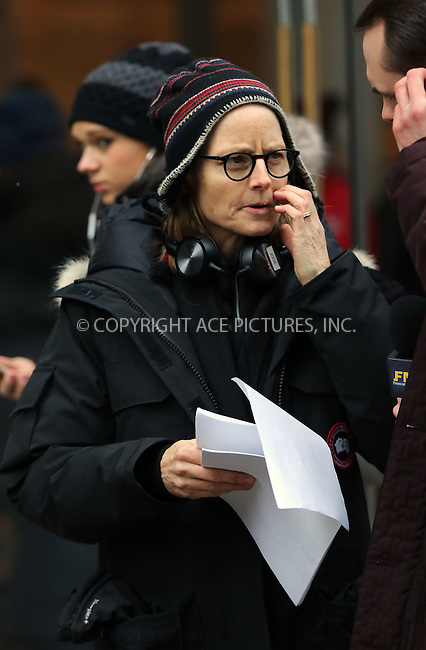 WWW.ACEPIXS.COM<br /> <br /> February 26 2015, New York City<br /> <br /> Actress and director Jodie Foster directs scenes from her new movie 'Money Monster' on February 26 2015 in New York City<br /> <br /> By Line: Zelig Shaul/ACE Pictures<br /> <br /> <br /> ACE Pictures, Inc.<br /> tel: 646 769 0430<br /> Email: info@acepixs.com<br /> www.acepixs.com