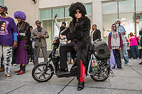 NEW YORK APRIL 25: Thousands gathered at Harlem's 125th Street to dance, celebrate and honoring the life of Prince Monday evening. During the course of his legendary career, Prince made several appearances at the famed Apollo Theater in Harlem.The pop star died on Thursday at the age of 57. in Harlem, New York City, Monday 25, 2016.Photo by VIEWpress/Maite H. Mateo