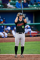 Nate Nolan (18) of the Great Falls Voyagers bats against the Ogden Raptors at Lindquist Field on September 14, 2017 in Ogden, Utah. The Raptors defeated the Voyagers 7-4 in Game One of the Pioneer League Championship. (Stephen Smith/Four Seam Images)