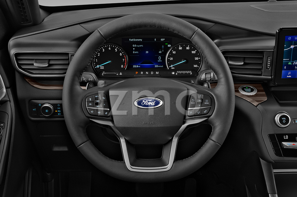 Car pictures of steering wheel view of a 2020 Ford Explorer Limited 5 Door SUV Steering Wheel