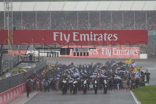 10.07.2016. Silverstone, England. Formula One British Grand Prix, race day.  The rain pours just before the start.