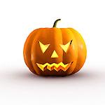Halloween evil jack-o-lantern conceptual 3D illustration on white