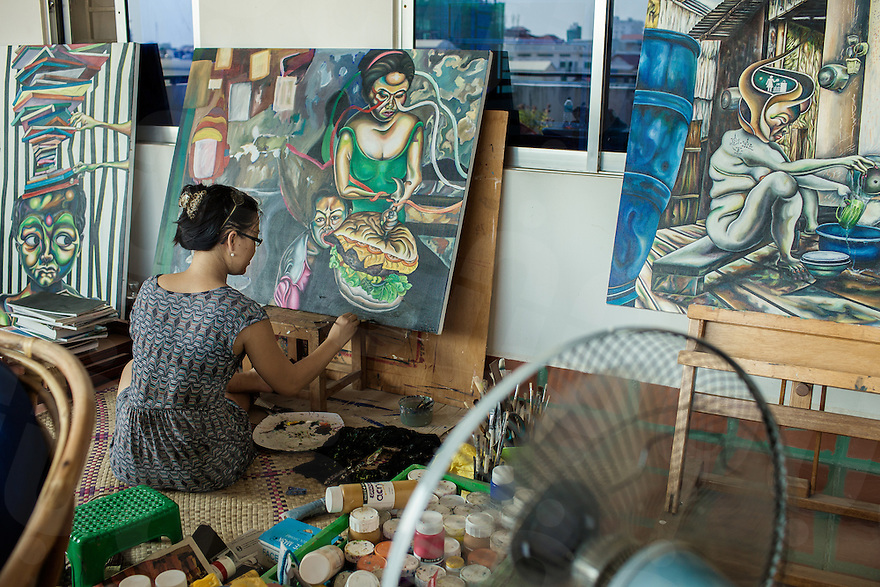 Sokuntevy OEUR (Tevy) is a female painter from Cambodia who is boldly leading the charge of the country's emerging women's art movement.